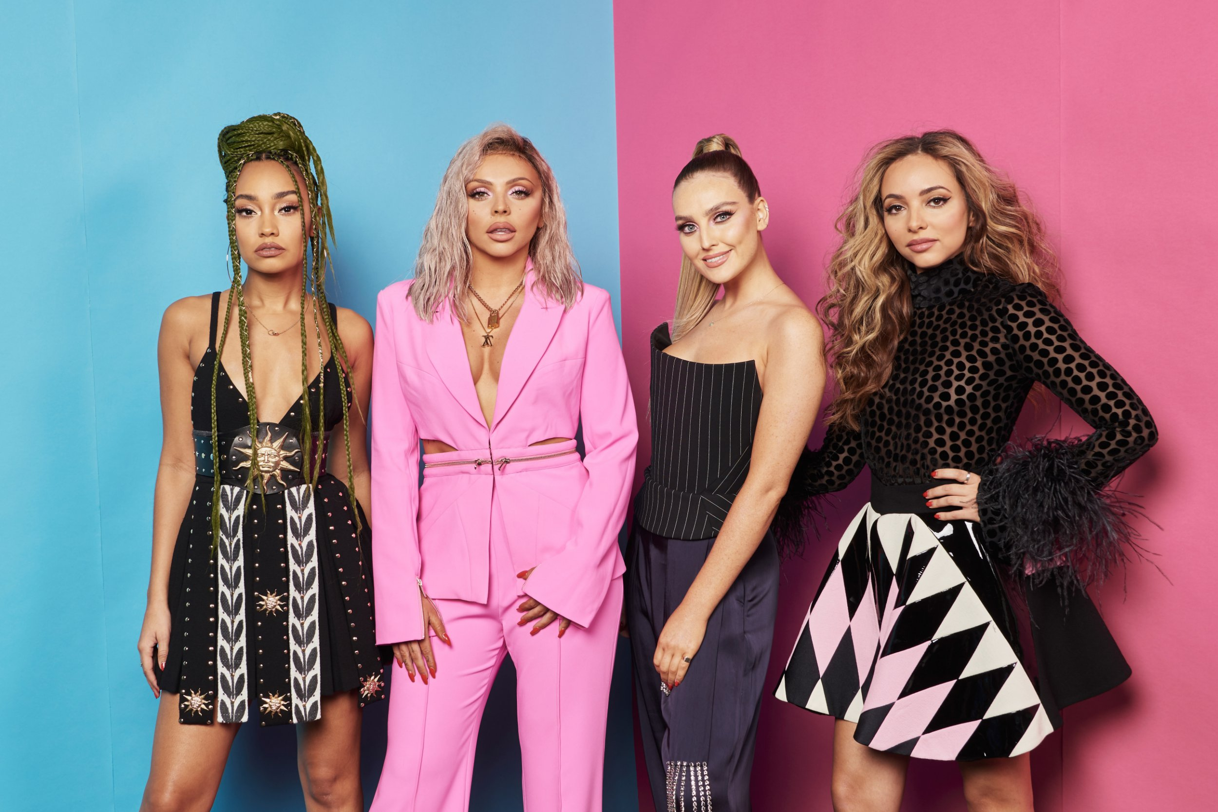 Leigh-Anne Pinnock, Jesy Nelson, Perrie Edwards and Jade Thirlwall of Little Mix pose at the MTV EMAs 2018 studio at Bilbao Exhibition Centre on November 4, 2018 in Bilbao, Spain. (Photo by Gareth Cattermole/MTV 2018/Getty Images for MTV)