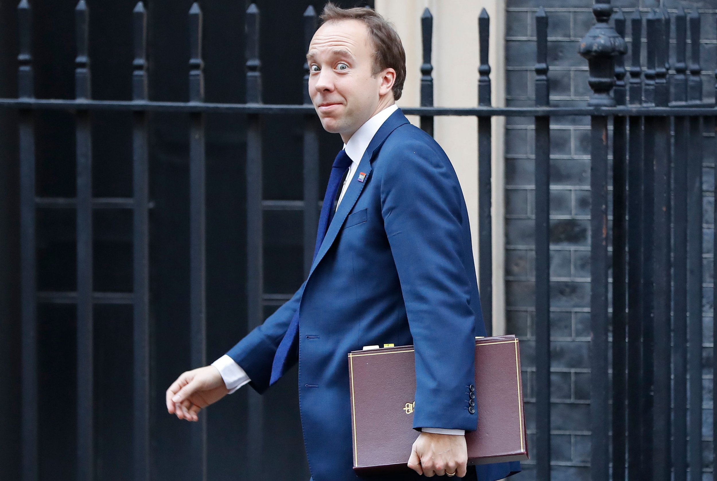Britain's Health and Social Care Secretary Matt Hancock leaves after attending the weekly meeting of the cabinet at 10 Downing Street in London on November 13, 2018. - Prime Minister Theresa May today faced her divided ministers as negotiators scrambled to secure a divorce agreement with the European Union and anxiety mounted over the risk of a no-deal Brexit. (Photo by Tolga AKMEN / AFP)TOLGA AKMEN/AFP/Getty Images