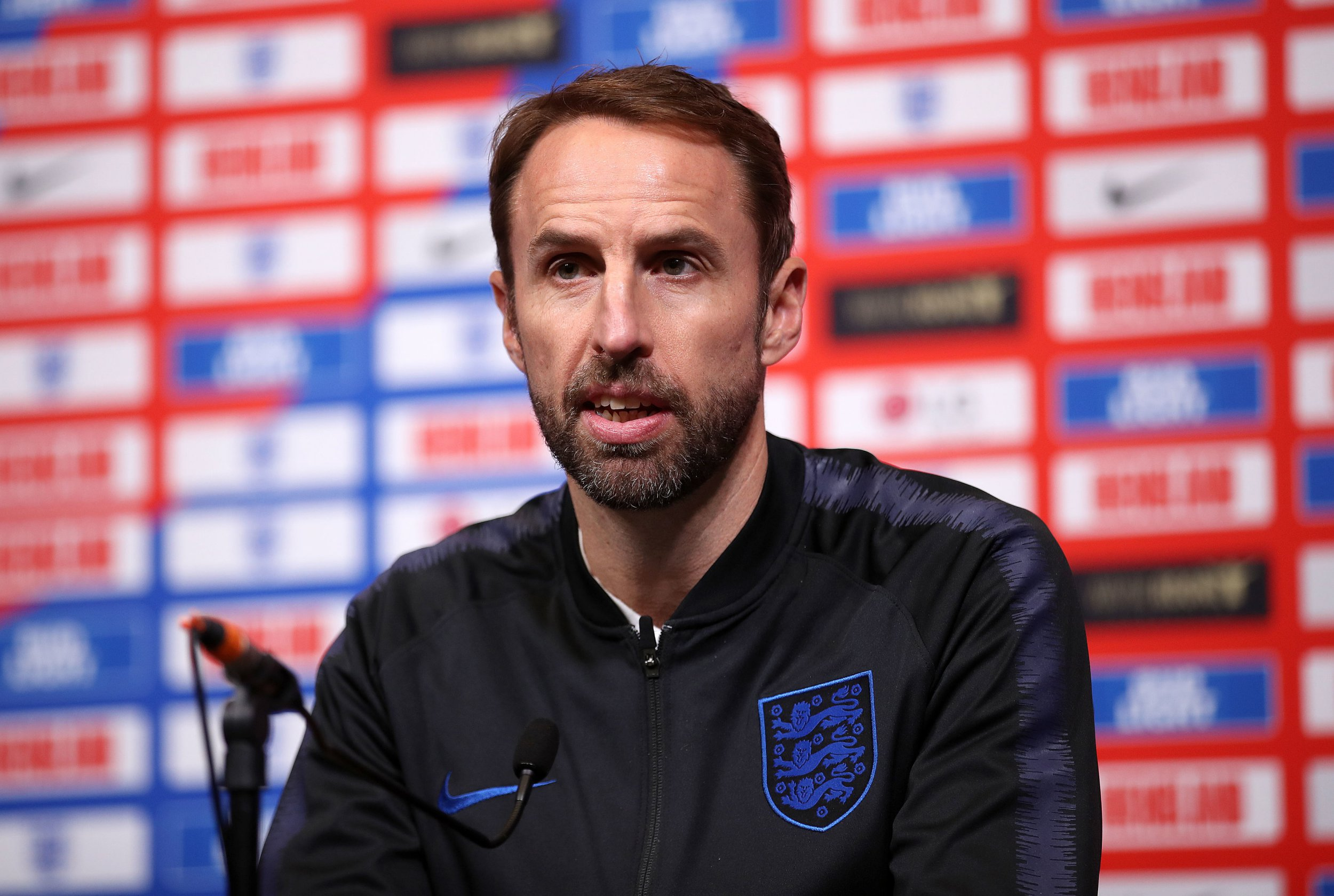 England manager Gareth Southgate during the press conference at Wembley Stadium, London. PRESS ASSOCIATION Photo. Picture date: Wednesday November 14, 2018. See PA story SOCCER England. Photo credit should read: Tim Goode/PA Wire. RESTRICTIONS: Use subject to FA restrictions. Editorial use only. Commercial use only with prior written consent of the FA. No editing except cropping.
