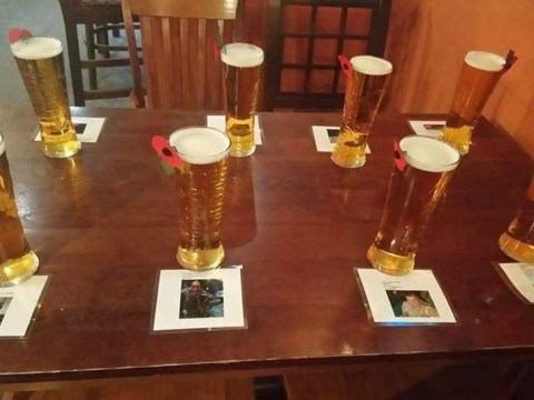 A soldier walks into a bar and buys 8 pints for his dead comrades in Afghanistan