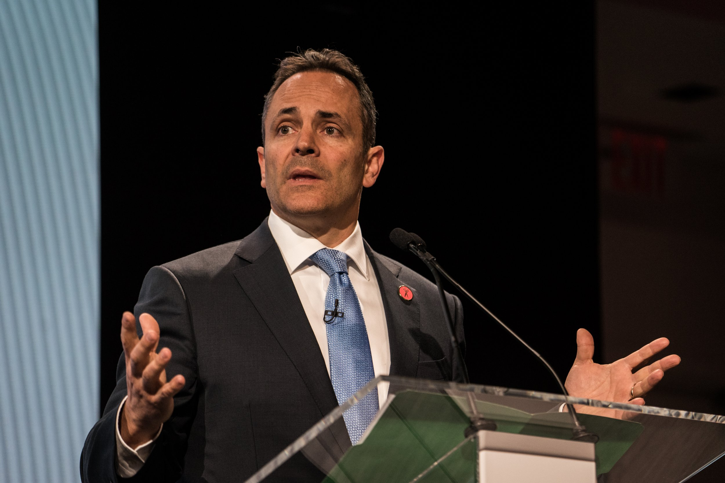 Matt Bevin, governor of Kentucky, speaks during the 2017 International Finance and Infrastructure Cooperation Forum in New York, U.S., on Monday, April 24, 2017. The forum brings together U.S. and Chinese government officials and global business executives from Fortune 500 companies. Photographer: Misha Friedman/Bloomberg via Getty Images