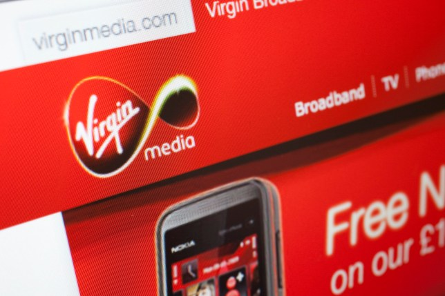 Computer screen showing the website for Virgin Media. (Photo by In Pictures Ltd./Corbis via Getty Images)