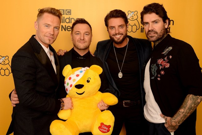 BOREHAMWOOD, ENGLAND - NOVEMBER 16: (L-R) Ronan Keating, Mikey Graham, Keith Duffy and Shane Lynch of Boyzone backstage at BBC Children In Need's 2018 appeal night at Elstree Studios on November 16, 2018 in Borehamwood, England. (Photo by Dave J Hogan/Dave J Hogan/Getty Images)