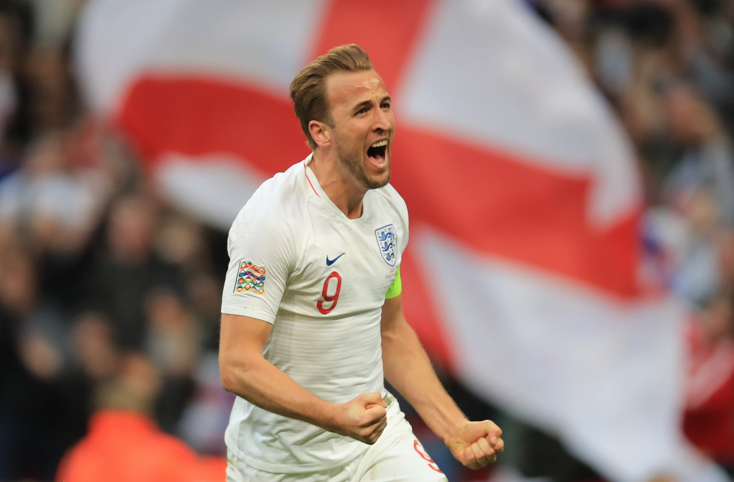 LONDON, ENGLAND - NOVEMBER 18: Harry Kane of England celebrates scoring their 2nd goal during the UEFA Nations League A group four match between England and Croatia at Wembley Stadium on November 18, 2018 in London, United Kingdom. (Photo by Marc Atkins/Getty Images)