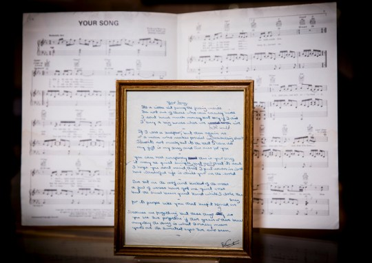 Elton John's Your Song could be yours as handwritten lyrics
