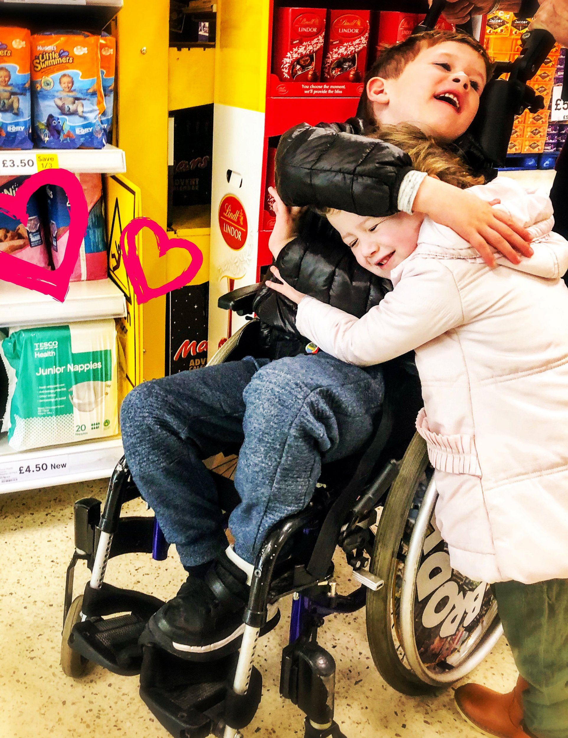 Brody Rutherford from Bonnybridge, Falkirk, with his younger sister Sydney at a Tesco store beside the nappies for old children. See SWSCnappy. A mother with a disabled son has spoken of her pride after Tesco became the first UK supermarket to begin selling nappies for older children in response to her campaign. Laura Rutherford's six-year-old son Brody - who has a rare genetic condition, autism and epilepsy - is not toilet trained and outgrew regular infant nappies when he was four. The family, from Bonnybridge, Falkirk had to use size six nappies - suitable for 15-16 month old infants - until Laura was forced to buy expensive specialist nappies online. Taking the situation into her own hands, Laura started up a Change.org petition, which garnered over 18,500 signatures.