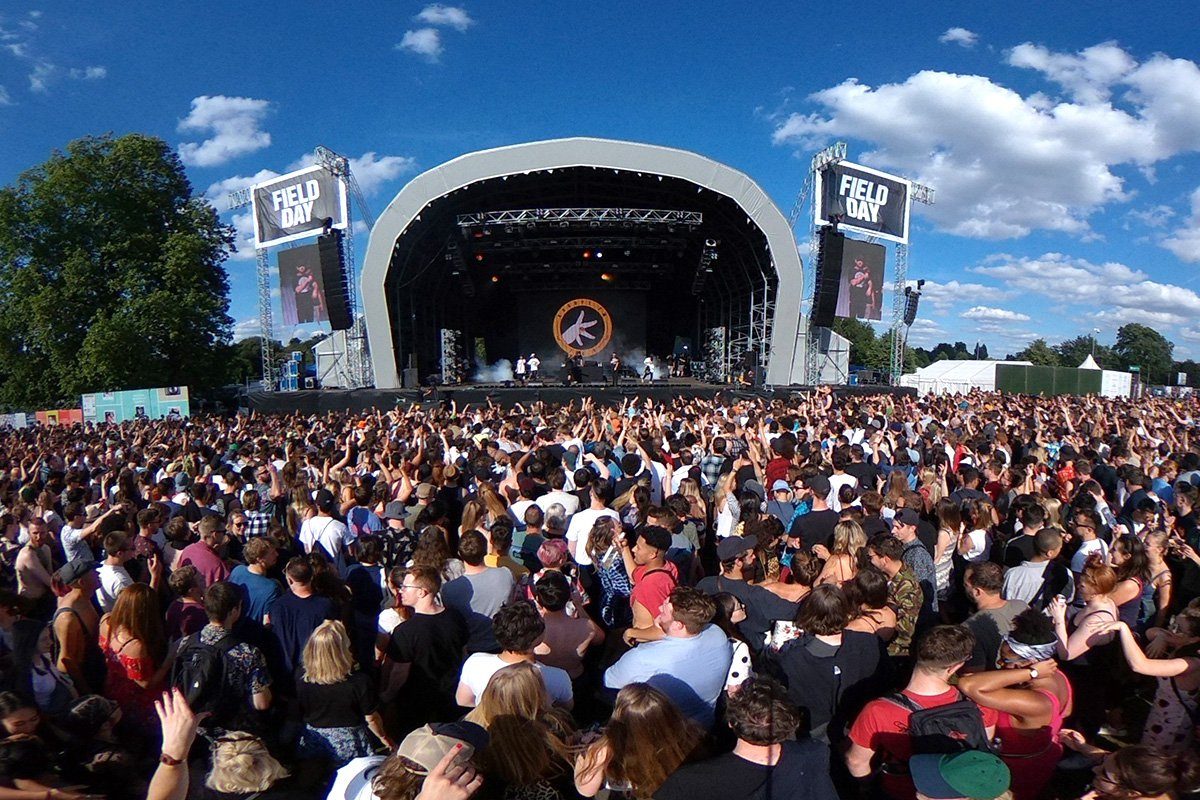 LONDON, ENGLAND - JUNE 01: (EDITOR'S NOTE: Image was created as an Equirectangular Panorama. Import image into a panoramic player to create an interactive 360 degree view.) General view of the Main Stage on Day 1 of Field Day at Brockwell Park on June 1, 2018 in London, England. (Photo by Joseph Okpako/WireImage)