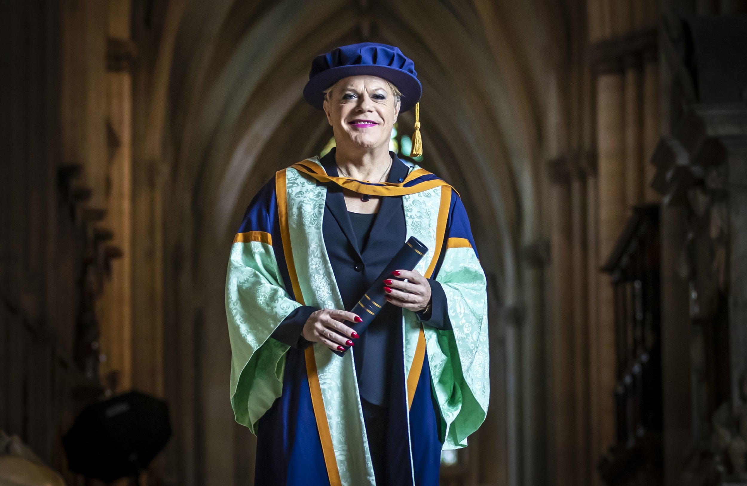 Eddie Izzard with his honorary degree from York St John University ahead of a graduation award ceremony at York Minster. PRESS ASSOCIATION Photo. Picture date: Tuesday November 20, 2018. Eddie Izzard has been awarded an honorary degree for his outstanding achievements as a comedian, actor, writer, fundraiser and political activist by York St John University. Photo credit should read: Danny Lawson/PA Wire