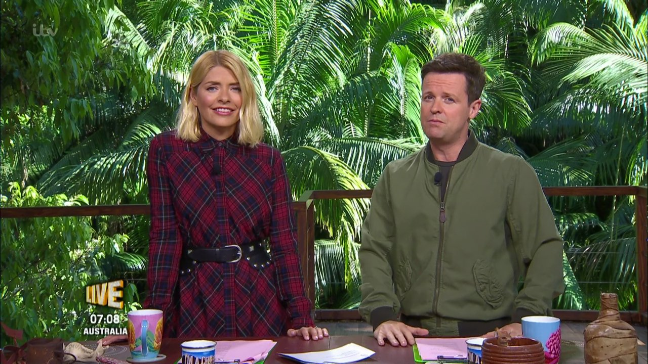 I'm a Celebrity...Get Me Out of Here!. Broadcast on ITV1 Featuring: Holly Willoughby, Declan Donnelly, Dec When: 20 Nov 2018 Credit: Supplied by WENN **WENN does not claim any ownership including but not limited to Copyright, License in attached material. Fees charged by WENN are for WENN's services only, do not, nor are they intended to, convey to the user any ownership of Copyright, License in material. By publishing this material you expressly agree to indemnify, to hold WENN, its directors, shareholders, employees harmless from any loss, claims, damages, demands, expenses (including legal fees), any causes of action, allegation against WENN arising out of, connected in any way with publication of the material.**
