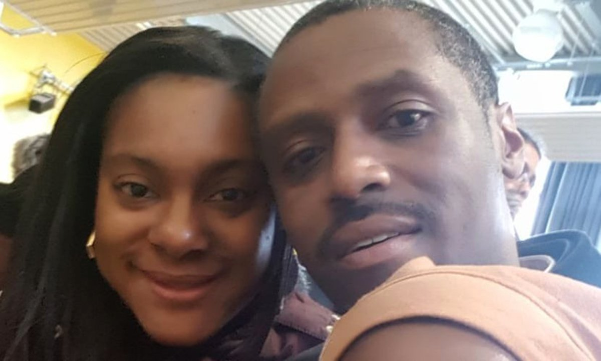 Izoduwa Adhedo, pictured with her husband Shane, has threatened Heavers Farm school with legal action (Picture: Family handout)