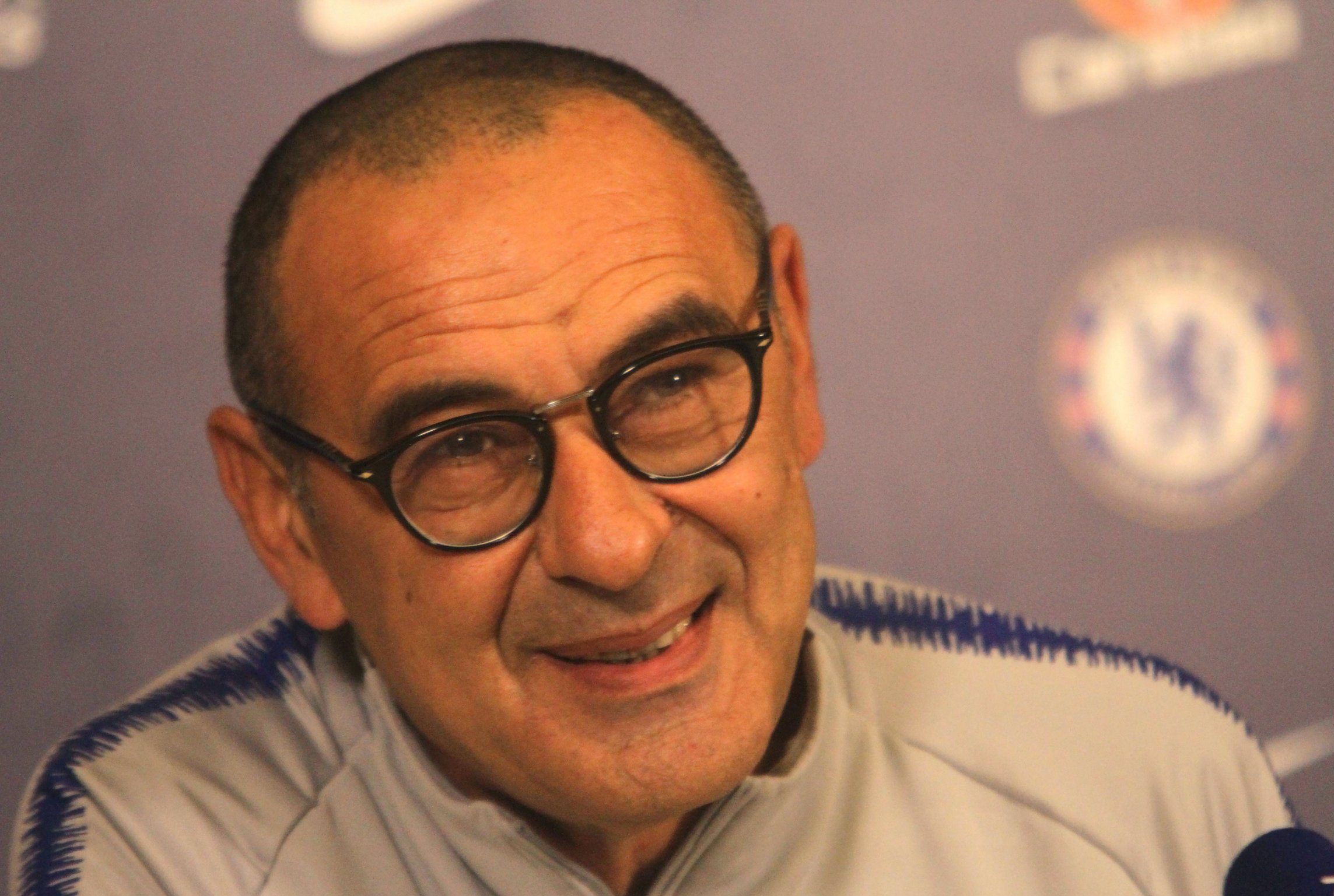 Mandatory Credit: Photo by Tony Larkin/REX (9990899d) Maurizio Sarri Chelsea Football Club press conference, Cobham, Surrey, UK - 23 Nov 2018 Maurizio Sarri holds a press conference ahead of tomorrow's game against Spurs.