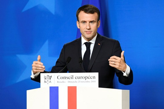 French President Emmanuel Macron attends a news conference after an extraordinary EU leaders summit to finalise and formalise the Brexit agreement in Brussels, Belgium November 25, 2018. REUTERS/Piroschka van de Wouw