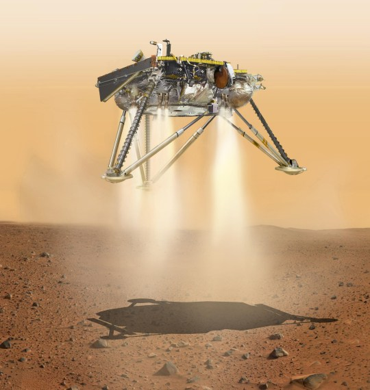 NASA undated handout artist impression of NASA's InSight lander about to land on the surface of Mars. The spacecraft hurtling towards Mars will be the first to study the deep interior of the planet if it survives the landing. PRESS ASSOCIATION Photo. Issue date: Monday November 26, 2018. The InSight probe is scheduled to arrive on Martian soil at around 8pm GMT on Monday, scientists said. See PA story SCIENCE Mars. Photo credit should read: NASA/JPL-Caltech/PA Wire NOTE TO EDITORS: This handout photo may only be used in for editorial reporting purposes for the contemporaneous illustration of events, things or the people in the image or facts mentioned in the caption. Reuse of the picture may require further permission from the copyright holder.
