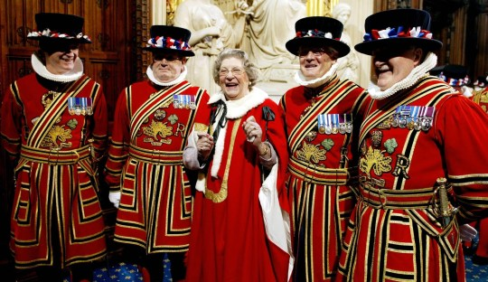File photo dated 17/05/05 of Baroness Trumpington with the Yeomen of the Guard in the House of Lords. Baroness Trumpington, who retired from the House of Lords at the age of 95 last year, has died, Conservative Deputy Chairman James Cleverly has confirmed.