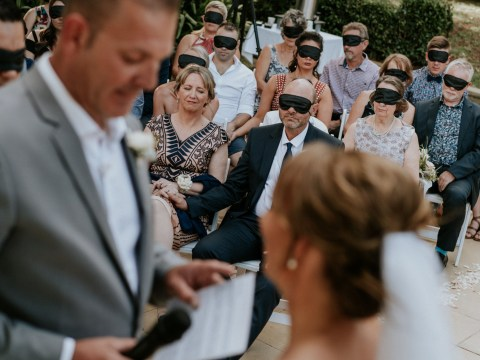 Guests wear blindfolds to honour bride who lost her sight before she met her groom