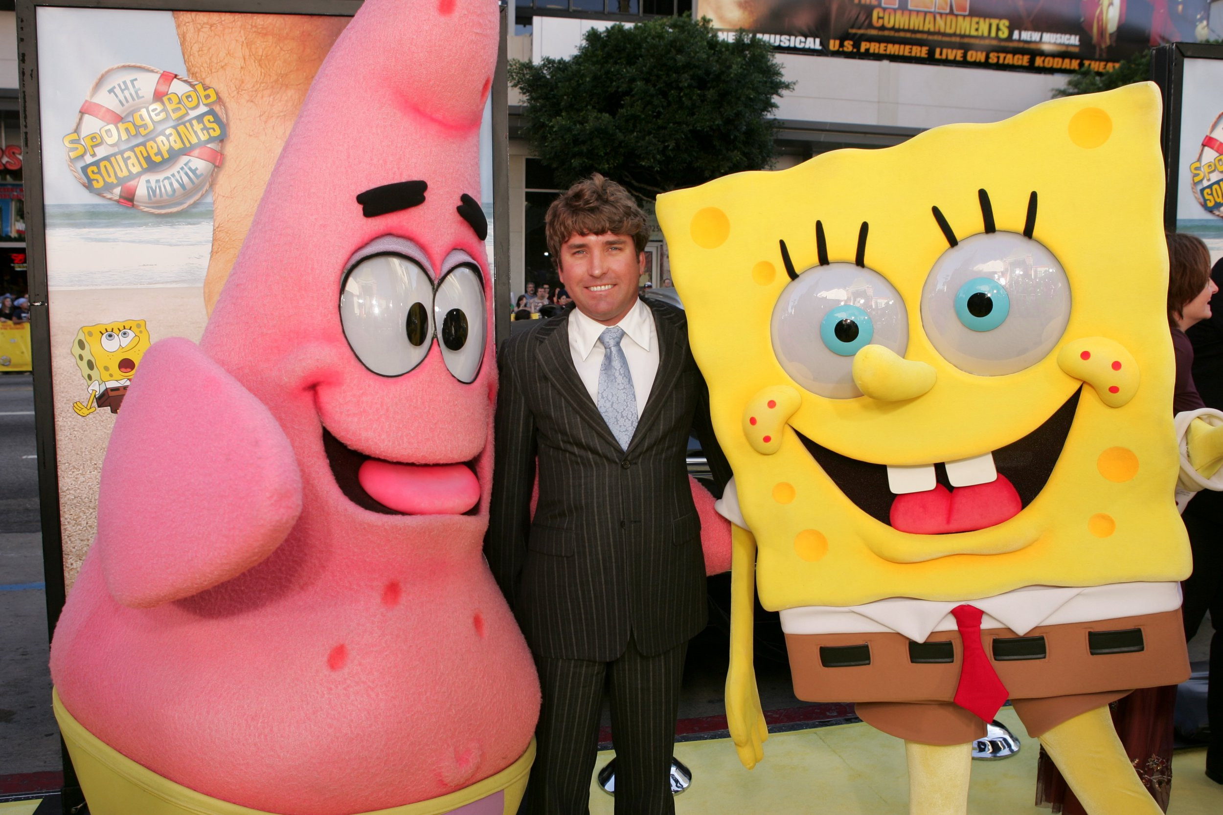 Mandatory Credit: Photo by Bei/REX/Shutterstock (503551bj) Patrick, Director Stephen Hillenburg, and Spongebob Squarepants 'The Spongebob Squarepants Movie' film premiere, Los Angeles, America - 14 Nov 2004 November 14, 2004 Hollywood, CA Patrick, Director Stephen Hillenburg, and Spongebob Squarepants Paramount Pictures presents the world premiere of THE SPONGEBOB SQUAREPANTS MOVIE held at the Grauman's Chinese Theater. Photo by Eric Charbonneau ? Berliner Studio / BEImages