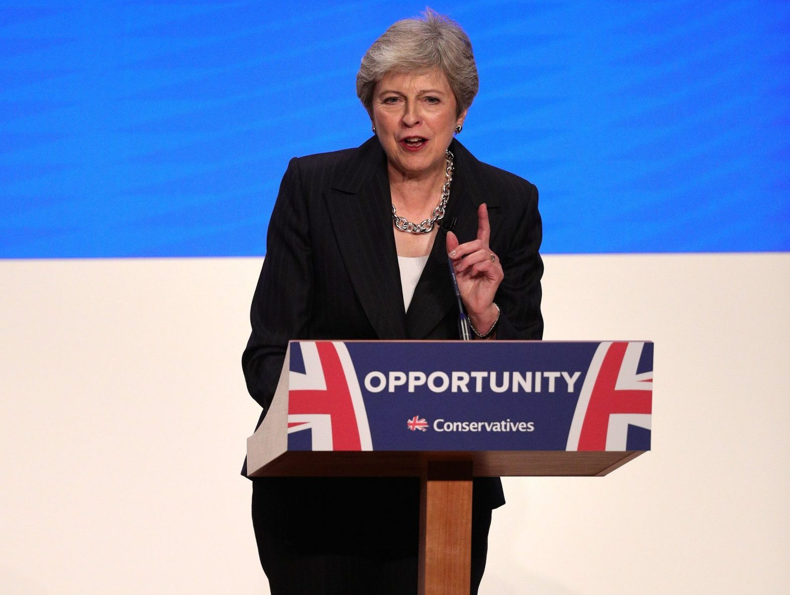 Prime Minister Theresa May makes her speech at the Conservative Party annual conference at the International Convention Centre, Birmingham.