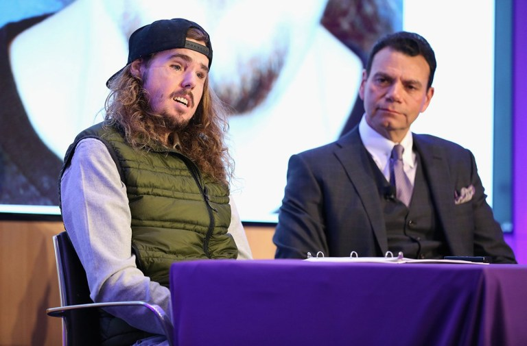 NEW YORK, NEW YORK - NOVEMBER 29: Cameron Underwood (L) and Eduardo D. Rodriguez, MD, DDS speak during the 2018 NYU Langone Face Transplant Announcement with patient Cameron Underwood at NYU Langone Medical Center on November 29, 2018 in New York City. (Photo by Monica Schipper/Getty Images for NYU Langone)