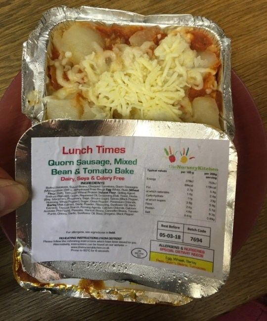 """A nursery catering business was forced to pay more than ?5,000 after a mis-labelled ready meal hospitalised a toddler with allergies. The Nursery Kitchen, which is based on Prenton Way in Wirral, supplied food to a nursery that was labelled as 'dairy free' - but it was actually coated in cheese. An investigation was launched after a toddler with a milk allergy suffered an allergic reaction and required hospital treatment. Trading Standards discovered that The Nursery Kitchen produced two versions of their Quorn sausage, mixed bean and tomato bake - one with cheese and one without. The Nursery Kitchen supplied this """"dairy free"""" meal to a nursery - but it was actually coated in cheese"""