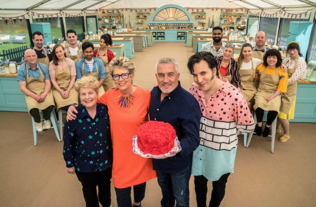 Sandi Toksvig, Prue Leith, Paul Hollywood, Noel Fielding and the Great British Bake Off 2018 contestants