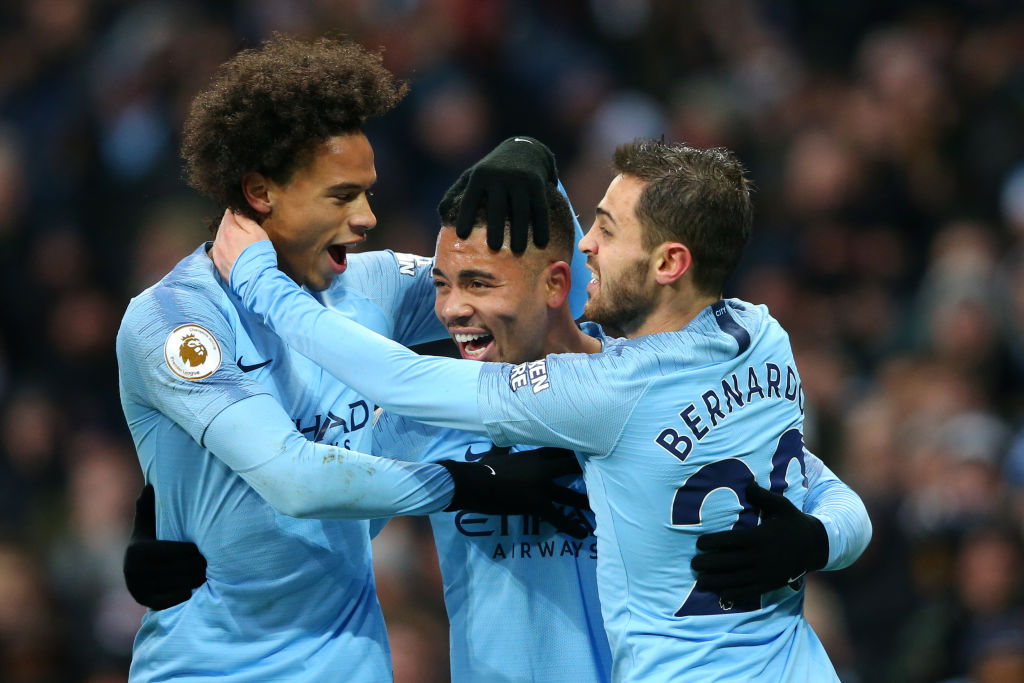 Leroy Sane and Gabriel Jesus combine as Man City respond to Chelsea setback