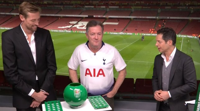 92c93bf6b Piers Morgan gets trolled by Harry Kane after being forced to wear  Tottenham shirt on live TV