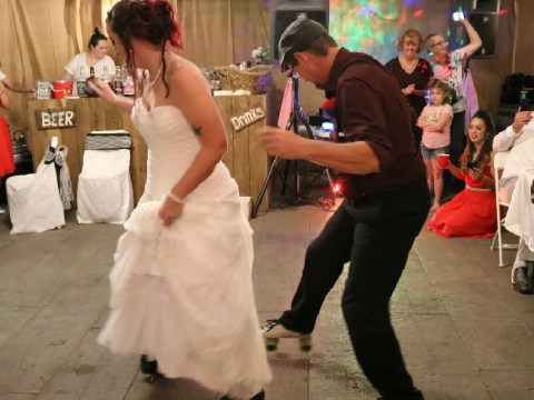 Bride and dad break out in roller skates for father-daughter wedding dance