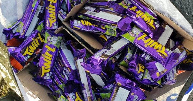 Caption: Undated handout photo issued by Greater Manchester Police of approximately ?200 worth of chocolate bars that were stolen from a shop in Hollins Road, Oldham. PRESS ASSOCIATION Photo. Issue date: Friday December 14, 2018. See PA story POLICE Twirl. Photo credit should read: Greater Manchester Police /PA Wire NOTE TO EDITORS: This handout photo may only be used in for editorial reporting purposes for the contemporaneous illustration of events, things or the people in the image or facts mentioned in the caption. Reuse of the picture may require further permission from the copyright holder. Photographer: Greater Manchester Police Provider: PA Source: PA
