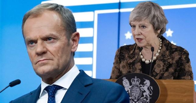 EU President Donald Tusk and British Prime Minister Theresa May