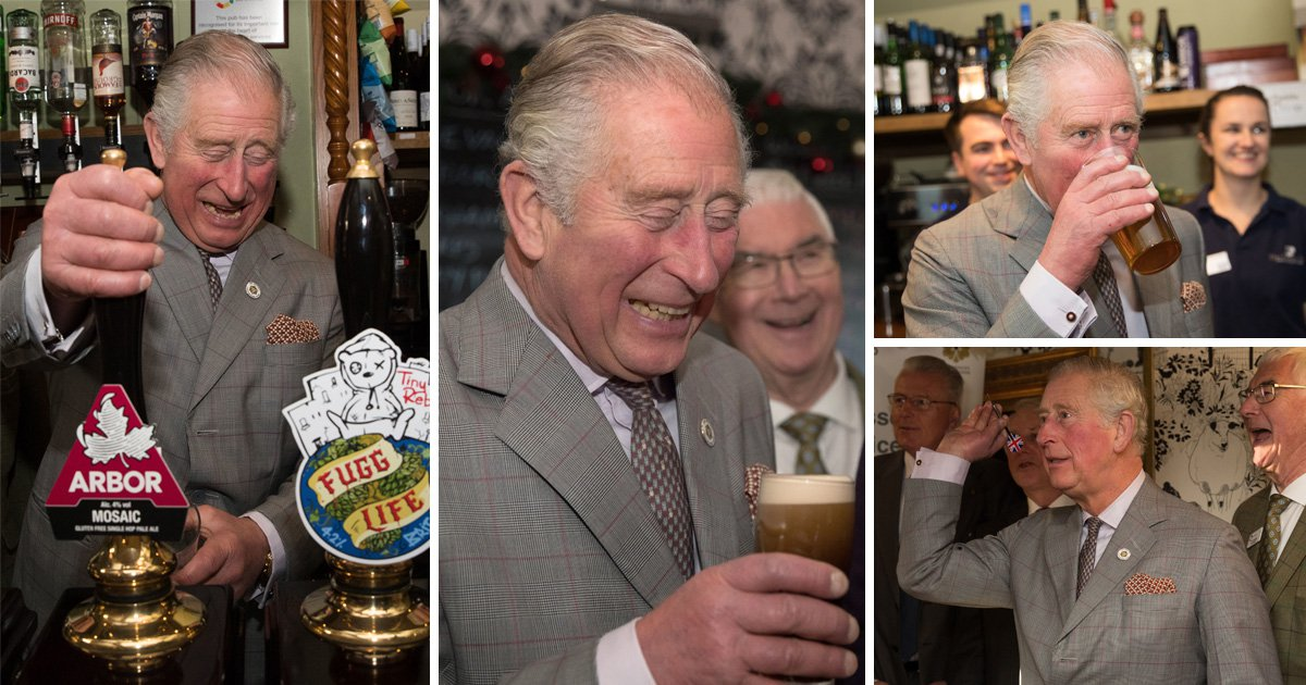 Prince Charles enjoys great day at work drinking pints and playing darts