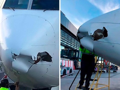 Passenger plane left with gaping hole after crashing with drone