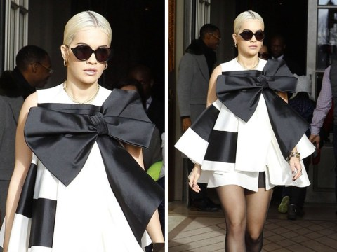 Rita Ora looks like an actual Christmas present in a giant bow