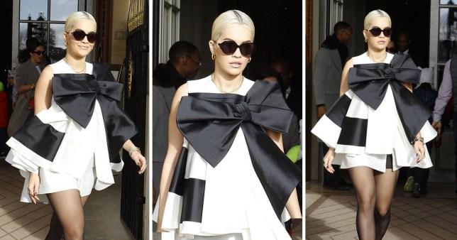 Rita Ora wearing a giant bow monochrome dress leaving the hotel de Crillon