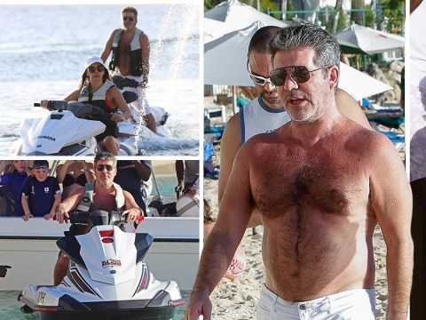 Simon Cowell is fast and furious during festive Barbados break with Lauren Silverman and son Eric