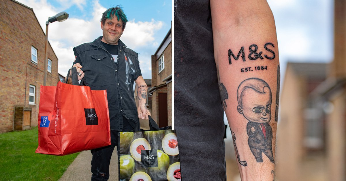 Man who loves Marks & Spencer doesn't just get any tattoo, he gets an M&S tattoo