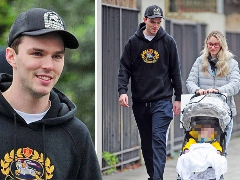 Nicholas Hoult seen for first time with baby son as he and Bryana Holly celebrate Christmas