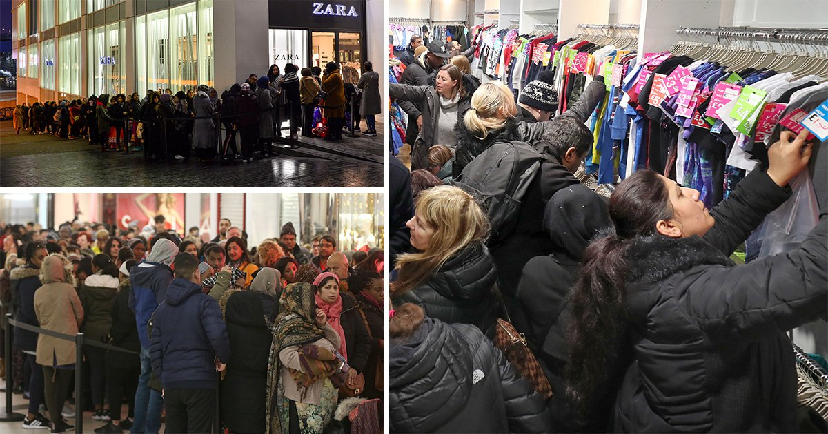 Thouands queue up in the middle of the night for Boxing Day sales