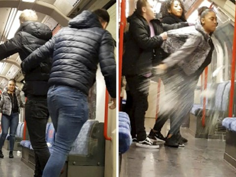Woman filmed smashing bottle on Tube in angry row