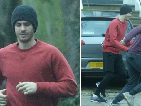 Andrew Garfield looks chirpy on morning jog after his 'girlfriend' Rita Ora is seen leaving his house