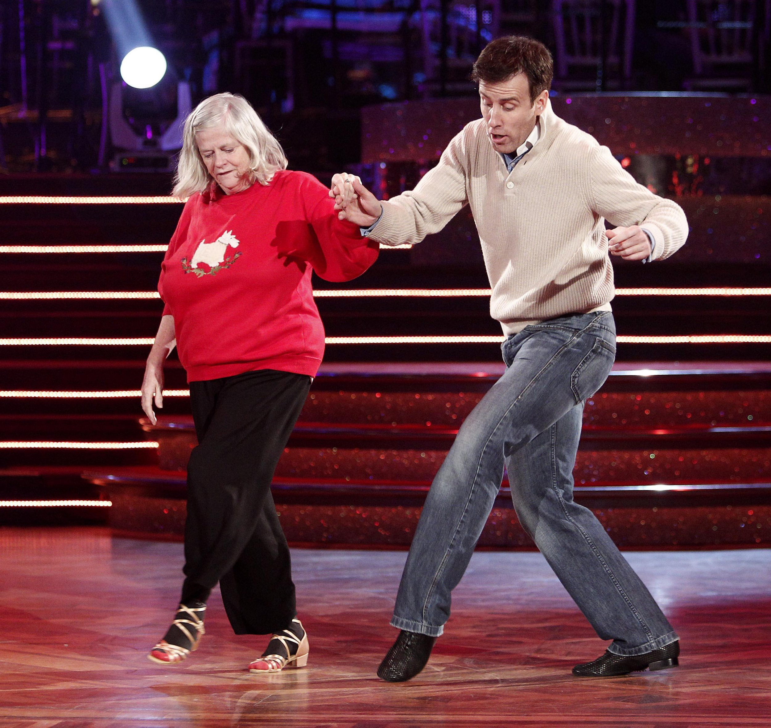Ann Widdecombe and Anton du Beke go through their routine at Blackpool's Tower Ballroom for ahead of the Strictly Come Dancing show tomorrow.