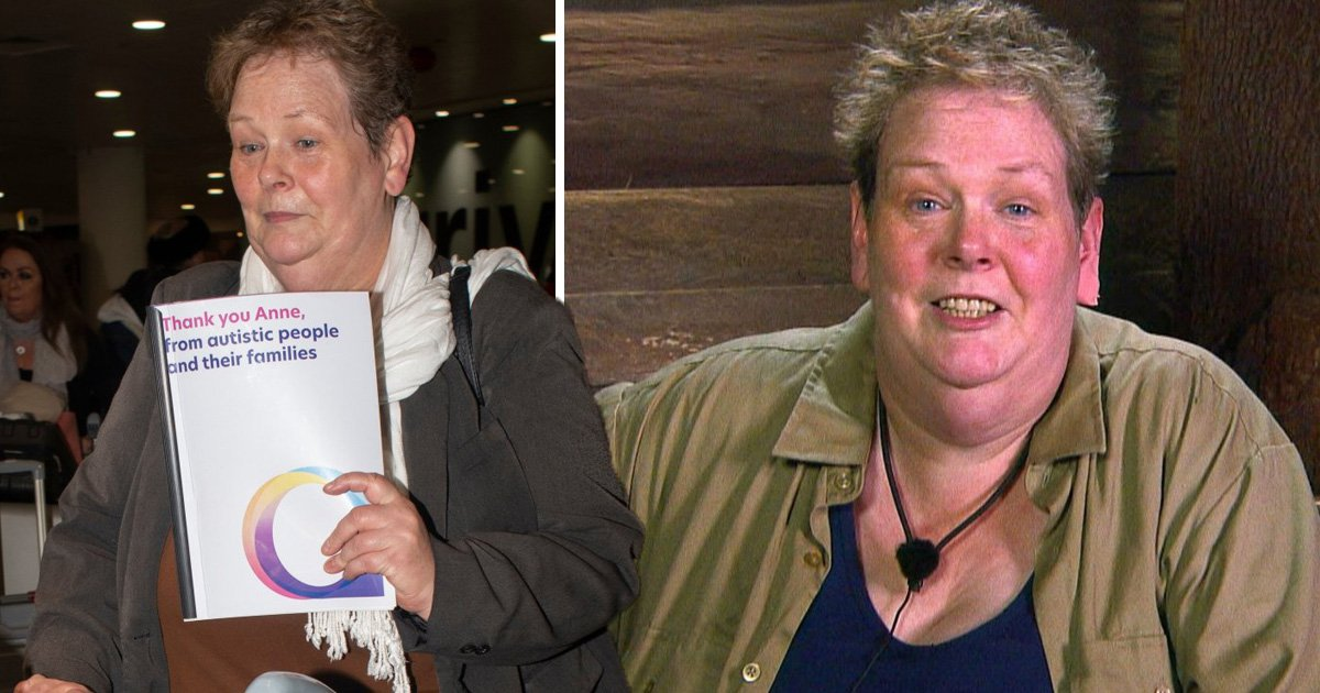 I'm A Celebrity's Anne Hegerty waves card from autistic society as she returns from the jungle