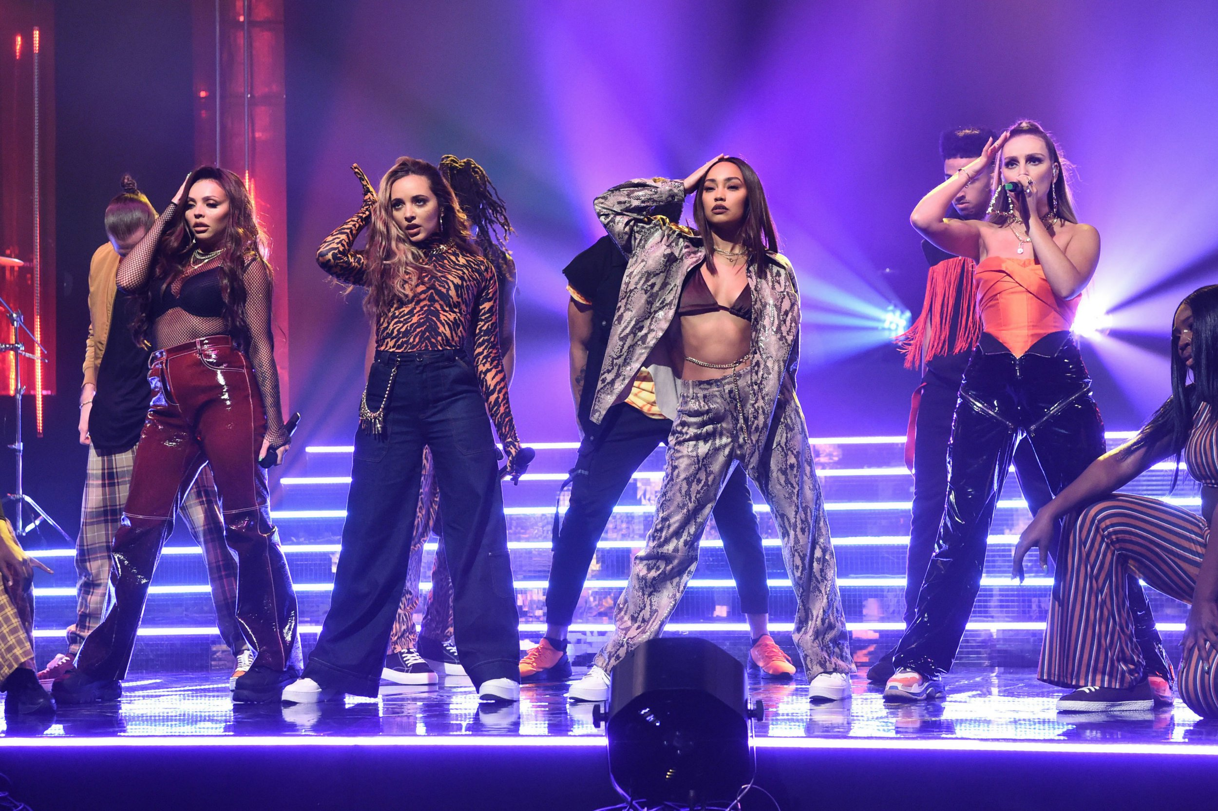Little Mix, (left to right) Jesy Nelson, Jade Thirlwall, Leigh-Anne Pinnock and Perrie Edwards, during the filming of the Graham Norton Show at BBC Studioworks 6 Television Centre, Wood Lane, London, to be aired on BBC One on Friday evening. PRESS ASSOCIATION Photo. Issue date: Thursday December 13, 2018. Photo credit should read: PA Images on behalf of So TV