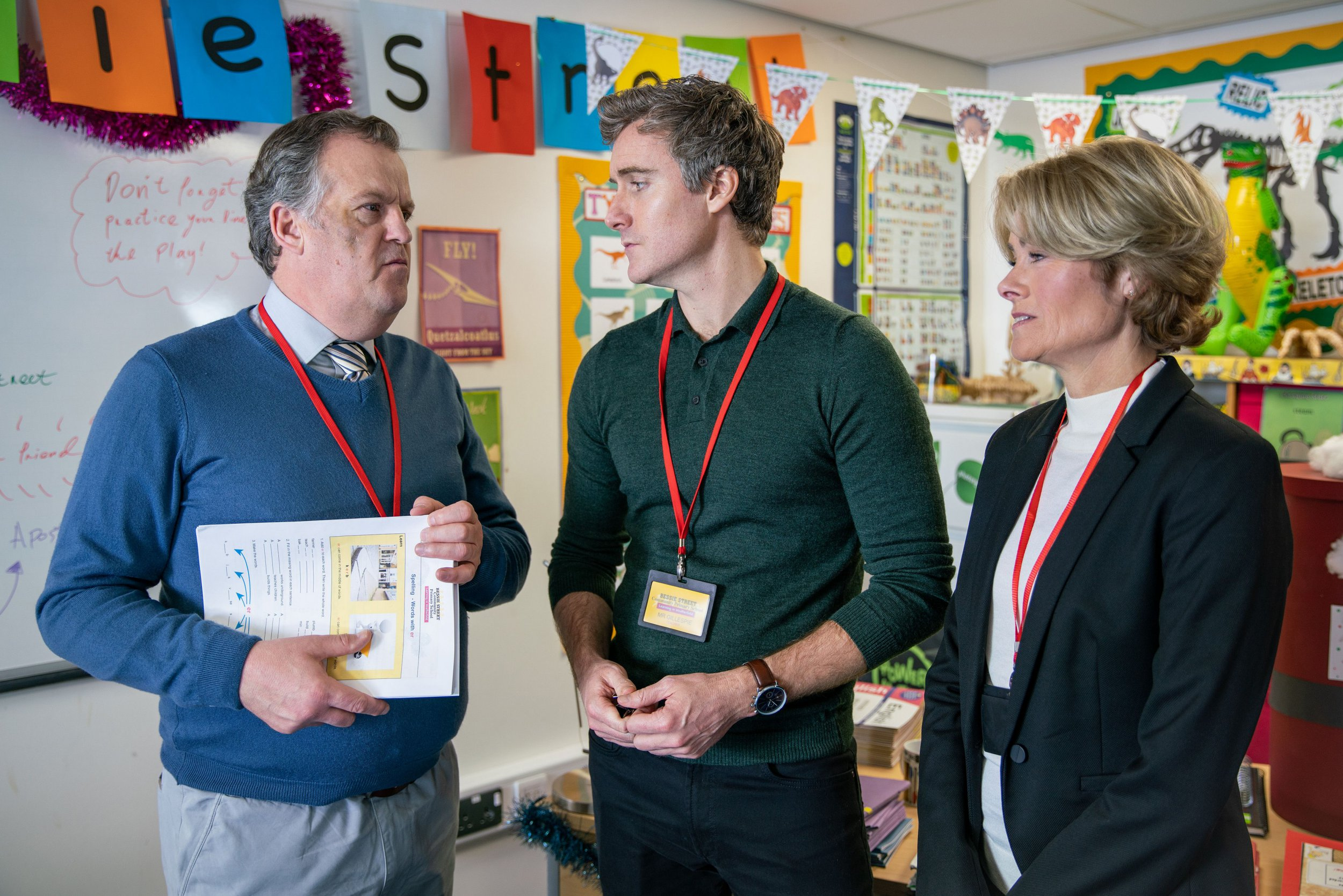 Editorial use only Mandatory Credit: Photo by ITV/REX/Shutterstock (10003689aj) Ep 9638 Friday 14th December 2018 - 1st Ep Brian Packham's, as played by Peter Gunn, alarmed when Phil, as played by Tom Turner, and the headmistress, as played by Janet Dibley, to observe his class without prior 'Coronation Street' TV Show UK - 2018