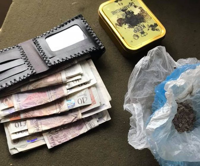 Pictures of the possession found by Totnes Police of a 'homeless man'. Photos taken from Totnes Police Facebook page TRIANGLE NEWS 0203 176 5581 // contact@trianglenews.co.uk By Rosaleen Fenton A BRAZEN beggar who was arrested by cops claimed to be homeless and broke - despite having a wallet stuffed with banknotes and a home. The man was slammed by officers after it emerged that he also had a free food vouchers for a hot meal. Police said the regular street drinker, who is in his 40s, was arrested on suspicion of dealing Class A drugs following a search. *Full copy filed via the wires/Triangle News*