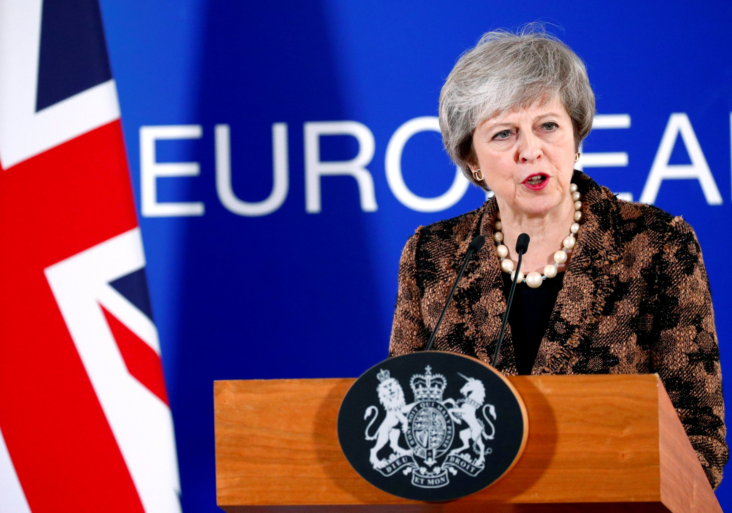 British Prime Minister Theresa May attends a news conference after a European Union leaders summit in Brussels, Belgium December 14, 2018. REUTERS/Francois Lenoir