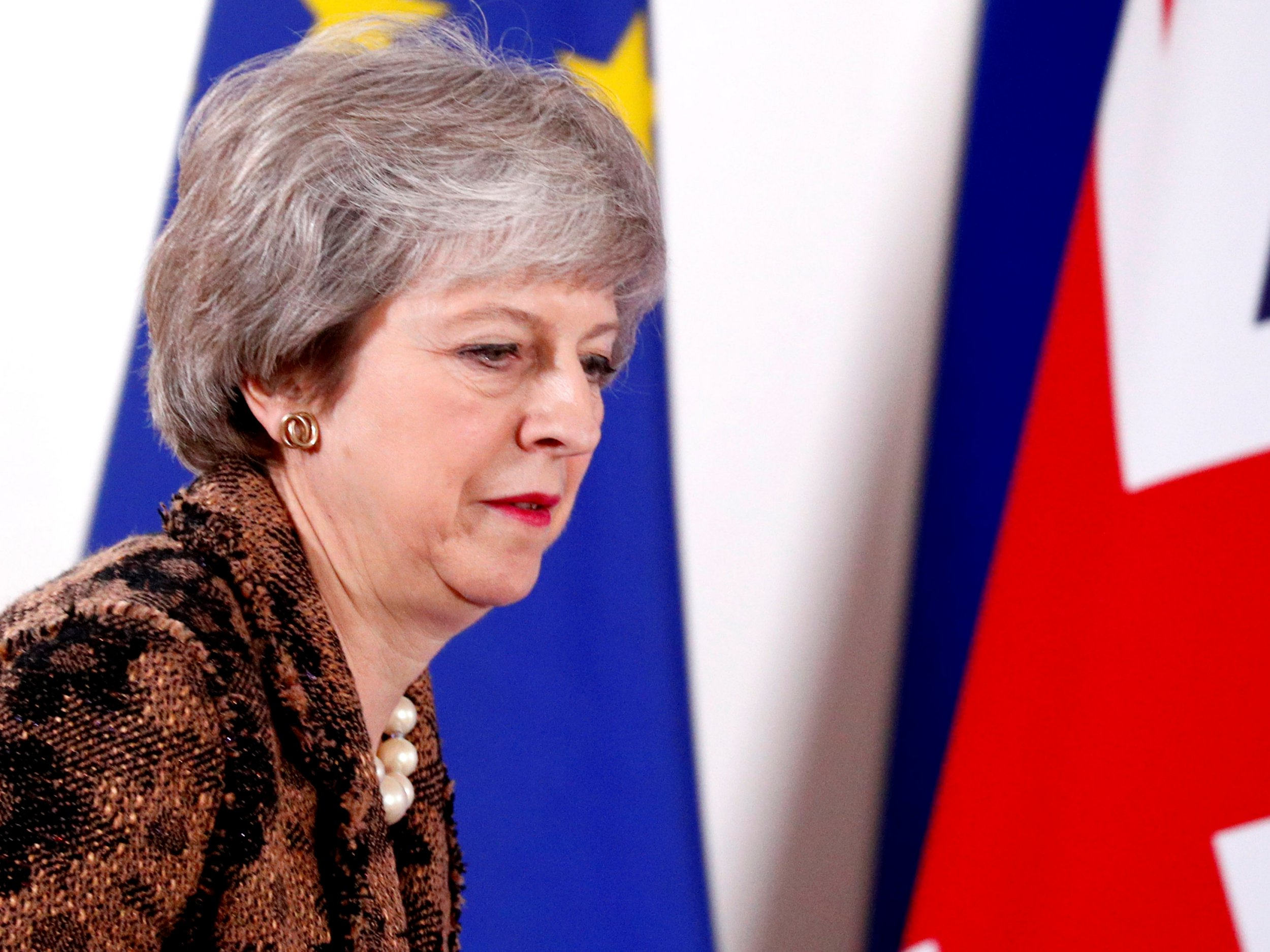 British Prime Minister Theresa May arrives to attend a news conference after a European Union leaders summit in Brussels, Belgium December 14, 2018. REUTERS/Francois Lenoir