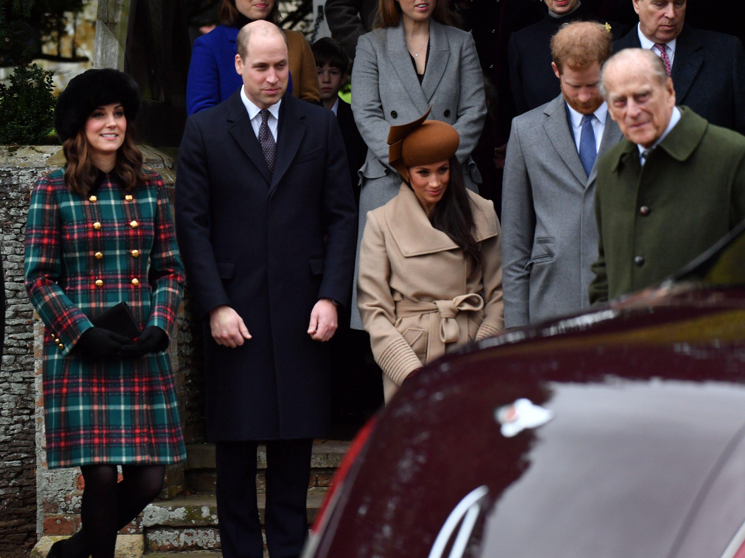 Mandatory Credit: Photo by Alan Davidson/REX/Shutterstock (9301549ad) Catherine Duchess of Cambridge, Prince William, Meghan Markle, Prince Harry Christmas Day church service, Sandringham, Norfolk, UK - 25 Dec 2017