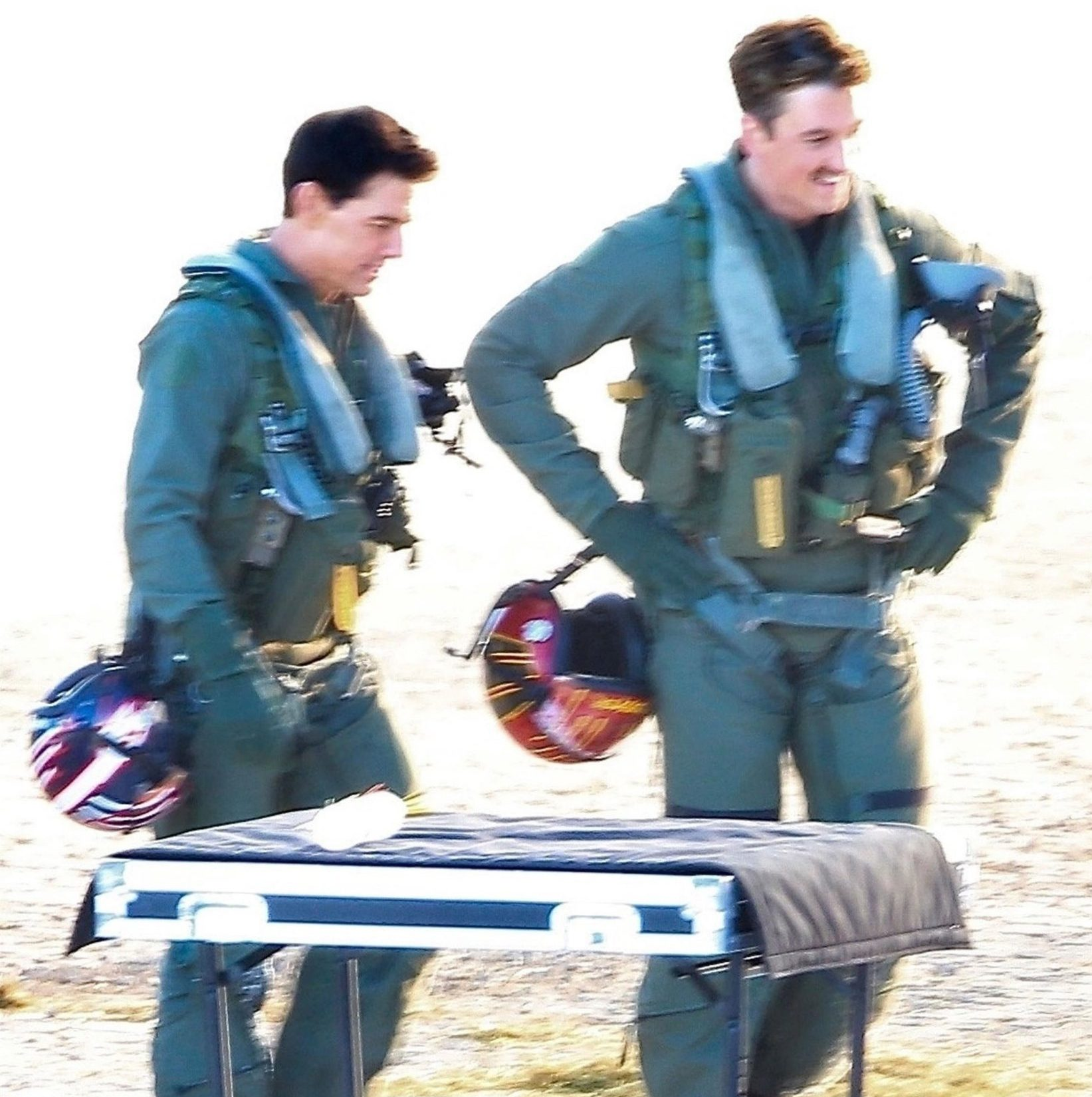 Lake Tahoe, CA - *EXCLUSIVE* - Actors Tom Cruise and Miles Teller were spotted filming action scenes in fighter pilot suits for their upcoming film 'Top Gun 2' on location in Lake Tahoe, California. Shot on 12/12/18. Pictured: Tom Cruise, Miles Teller BACKGRID USA 15 DECEMBER 2018 BYLINE MUST READ: W Blanco / BACKGRID USA: +1 310 798 9111 / usasales@backgrid.com UK: +44 208 344 2007 / uksales@backgrid.com *UK Clients - Pictures Containing Children Please Pixelate Face Prior To Publication*