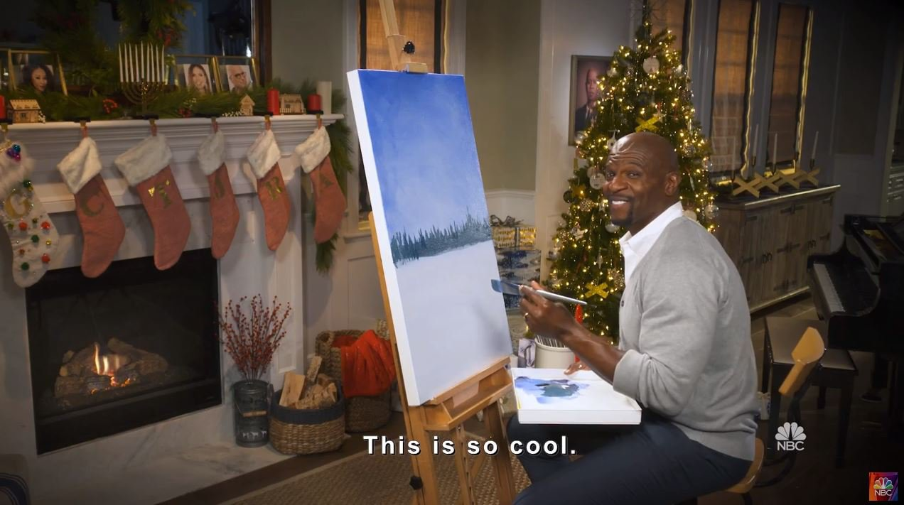 METROGRAB: Terry Crews' cosy Christmas tree painting sesh