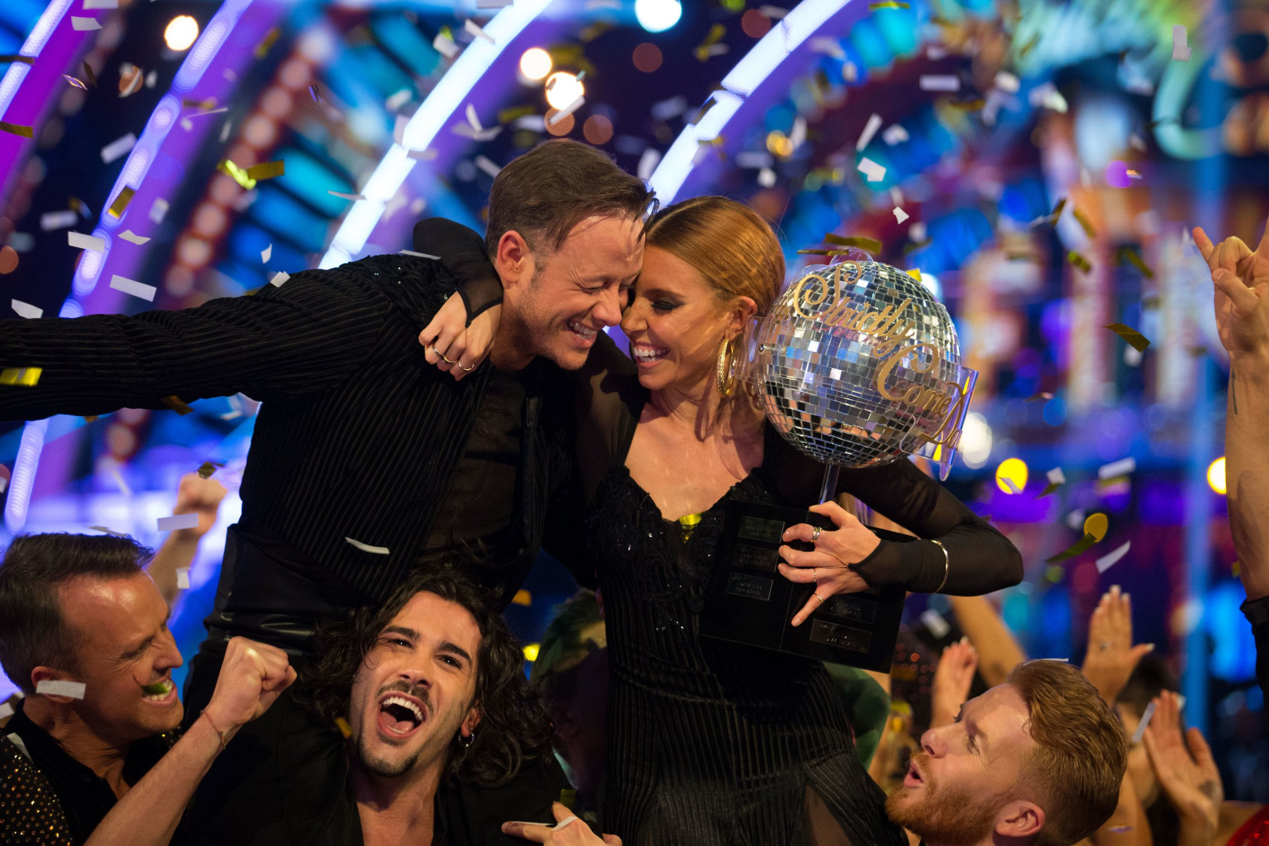 For use in UK, Ireland or Benelux countries only BBC handout photo dated 15/12/18 of Strictly Come Dancing 2018 winners Kevin Clifton and Stacey Dooley celebrating with the glitterball trophy. PRESS ASSOCIATION Photo. Issue date: Saturday December 15, 2018. See PA story SHOWBIZ Strictly. Photo credit should read: Guy Levy/BBC/PA Wire NOTE TO EDITORS: Not for use more than 21 days after issue. You may use this picture without charge only for the purpose of publicising or reporting on current BBC programming, personnel or other BBC output or activity within 21 days of issue. Any use after that time MUST be cleared through BBC Picture Publicity. Please credit the image to the BBC and any named photographer or independent programme maker, as described in the caption.